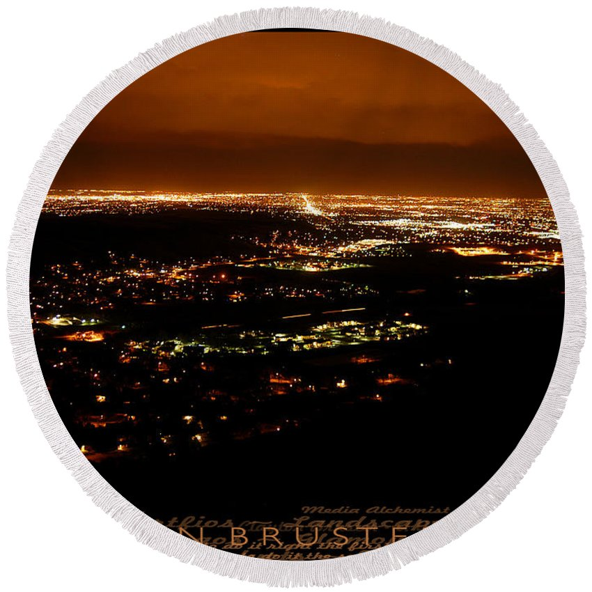 Clay Round Beach Towel featuring the photograph Denver Area At Night From Lookout Mountain by Clayton Bruster