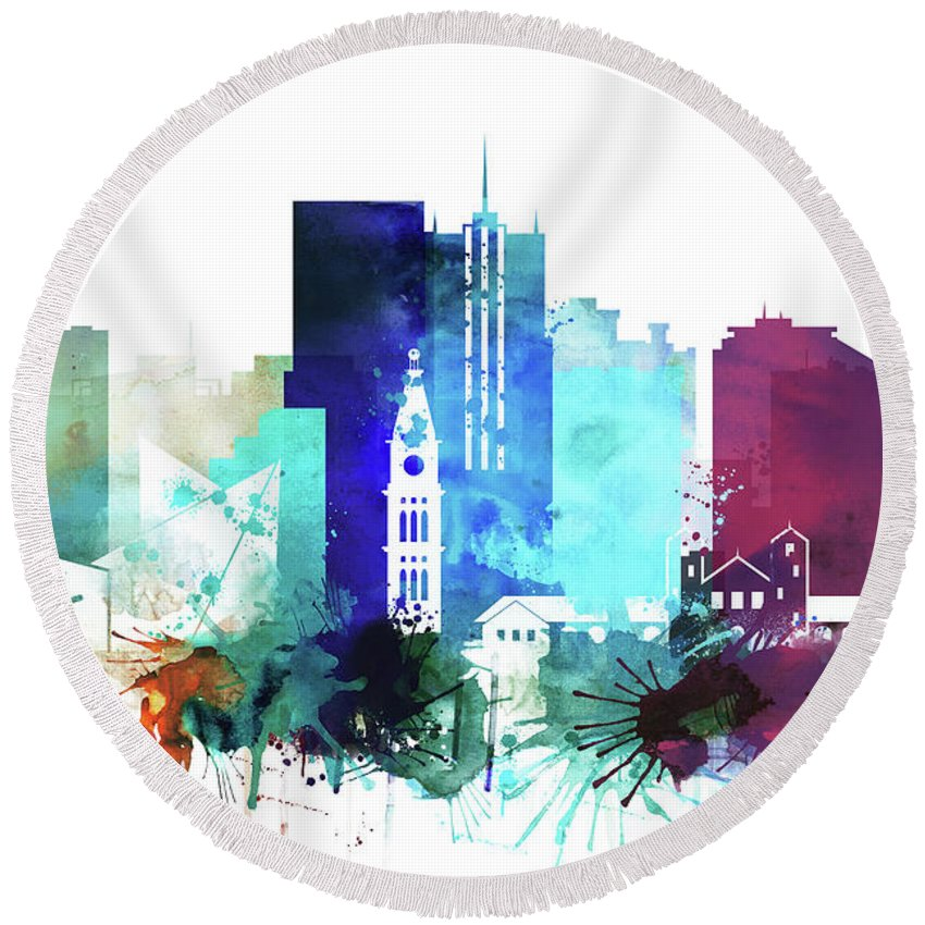 Denver Round Beach Towel featuring the painting Denver Watercolor Skyline by Dim Dom