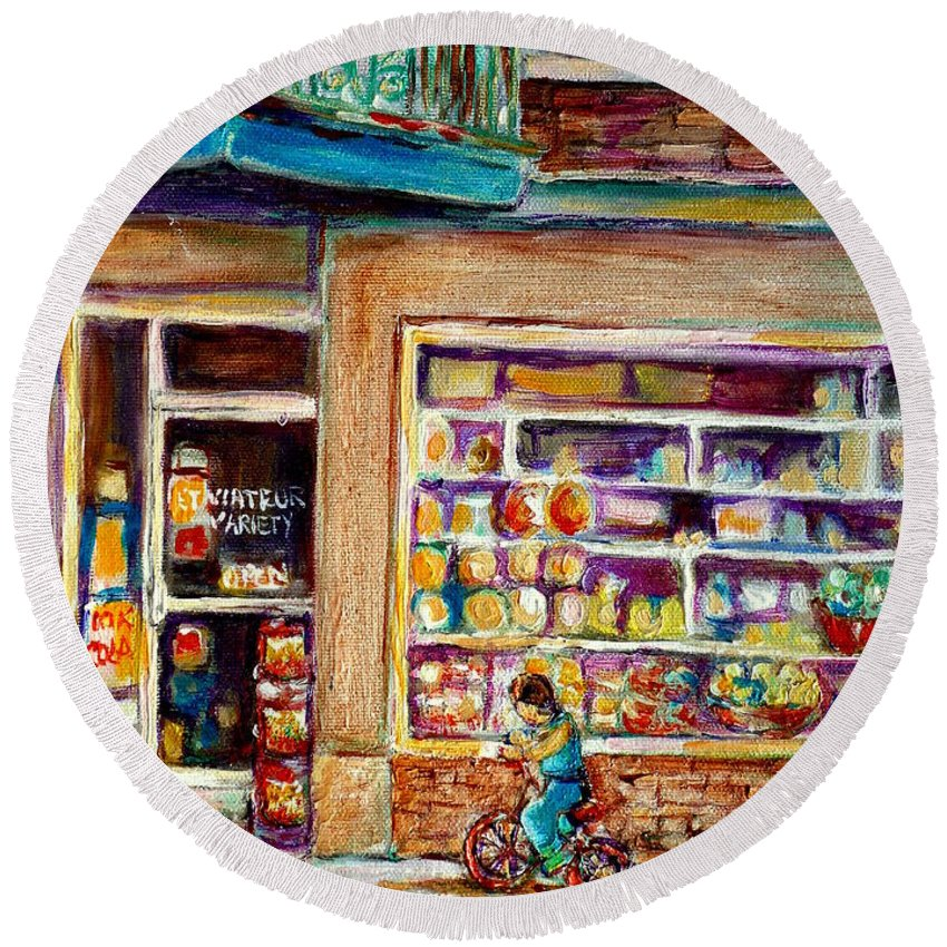 Montreal Round Beach Towel featuring the painting Depanneur St.viateur by Carole Spandau