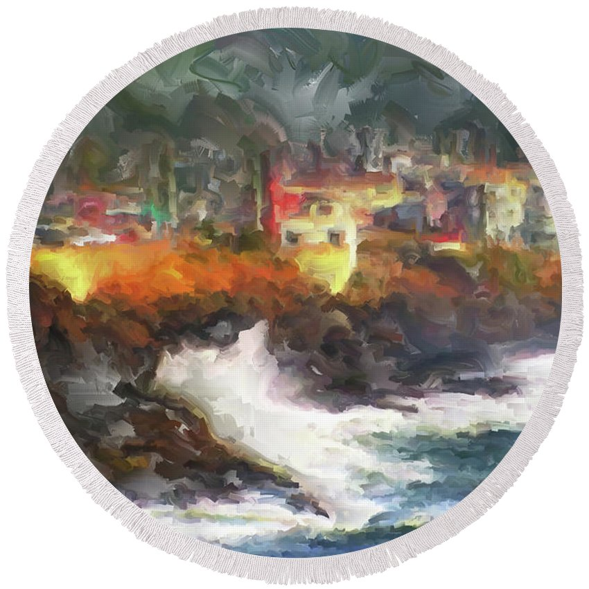 Depoe Bay Oregon Round Beach Towel featuring the painting Depoe Bay Oregon by Methune Hively