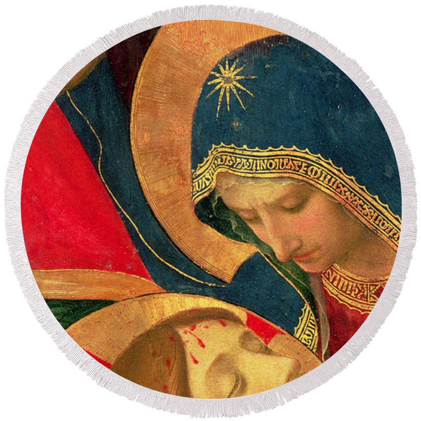 Christ Round Beach Towel featuring the painting Deposition From The Cross by Fra Angelico