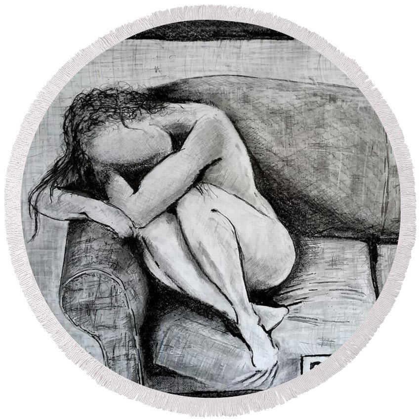 Depression Round Beach Towel featuring the drawing Depression by Jose A Gonzalez Jr