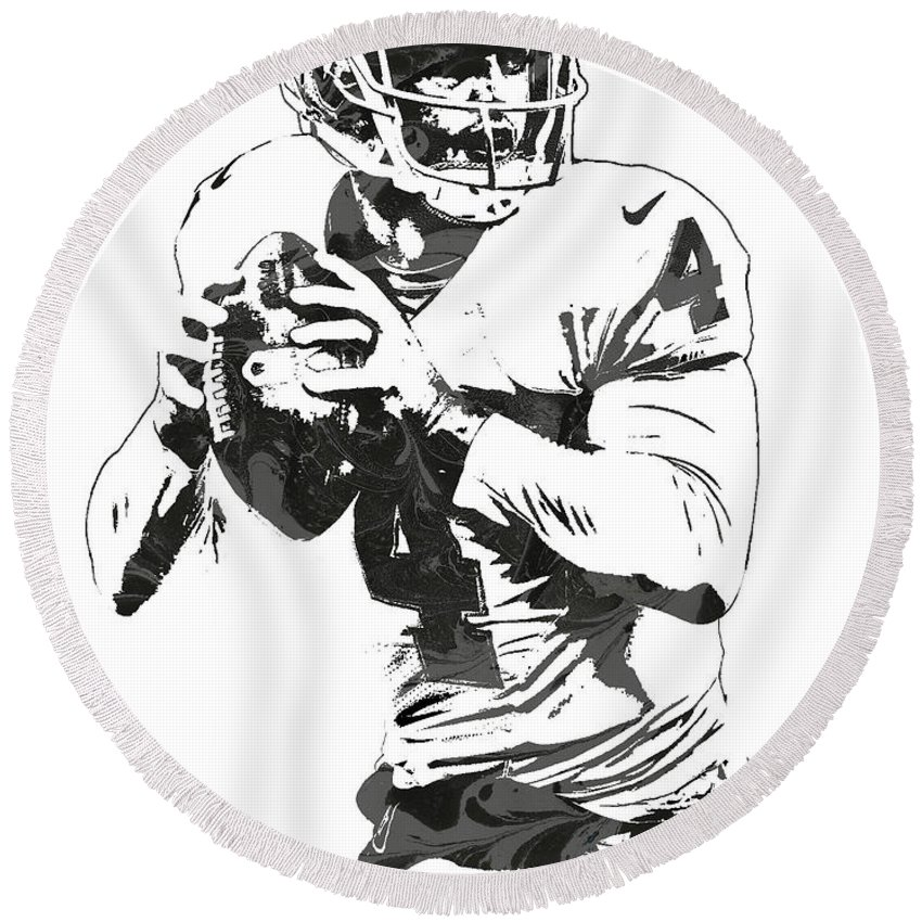 Derek Carr Oakland Raiders Pixel Art Round Beach Towel For Sale By