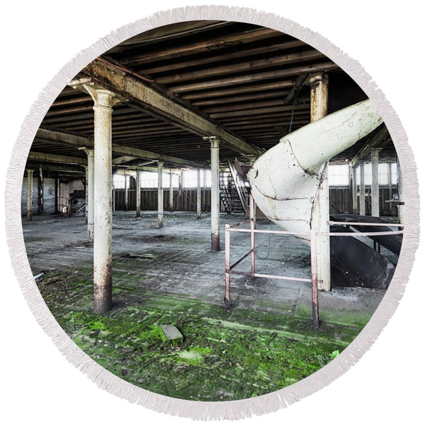 Abandoned Round Beach Towel featuring the photograph Derelict Factory Room by Svetlana Sewell