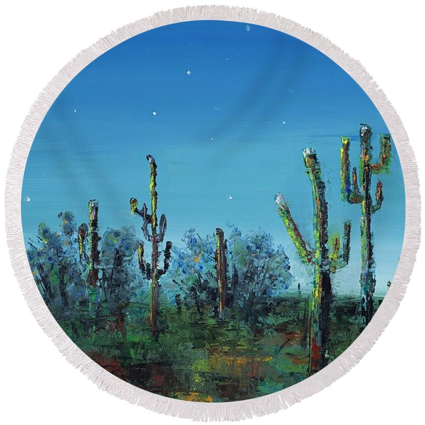 Desert Saguaro Catus In Bloom Round Beach Towel featuring the painting Desert Blue by Frances Marino