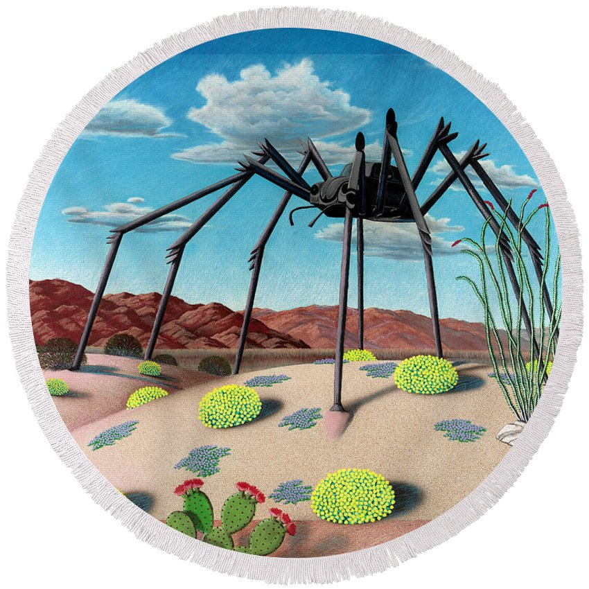 Desert Round Beach Towel featuring the painting Desert Bug by Snake Jagger