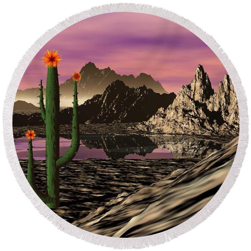 Digital Painting Round Beach Towel featuring the digital art Desert Cartoon by David Lane