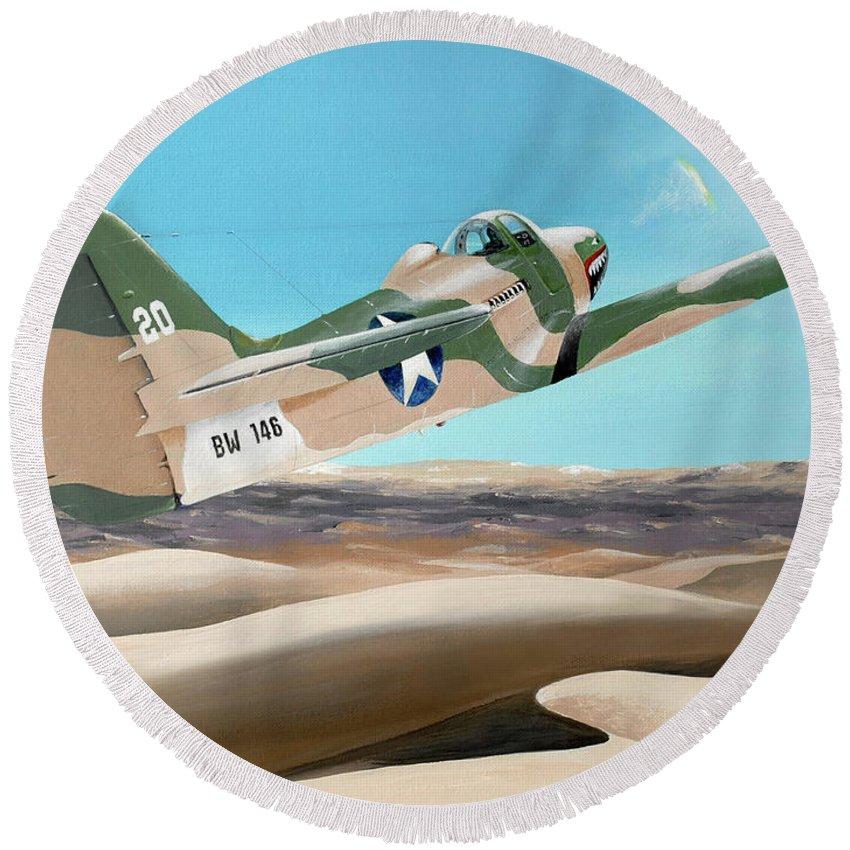 Aviation Round Beach Towel featuring the painting Desert Cobra by Stephen Becker