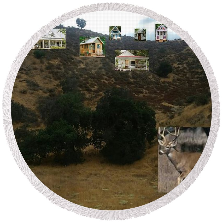 Cottage Round Beach Towel featuring the photograph Desert Cottages by Ishy Christine MudiArt Gallery