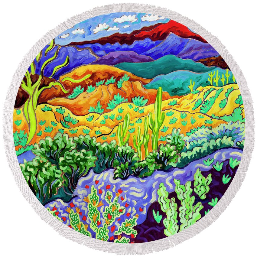 Arizona Round Beach Towel featuring the painting Desert Dance by Cathy Carey
