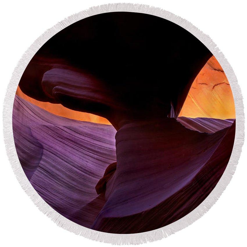 Eye Round Beach Towel featuring the photograph Desert Eye by Mike Dawson