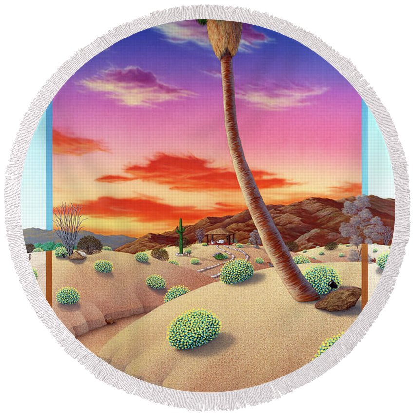 Landscape Round Beach Towel featuring the painting Desert Gazebo by Snake Jagger