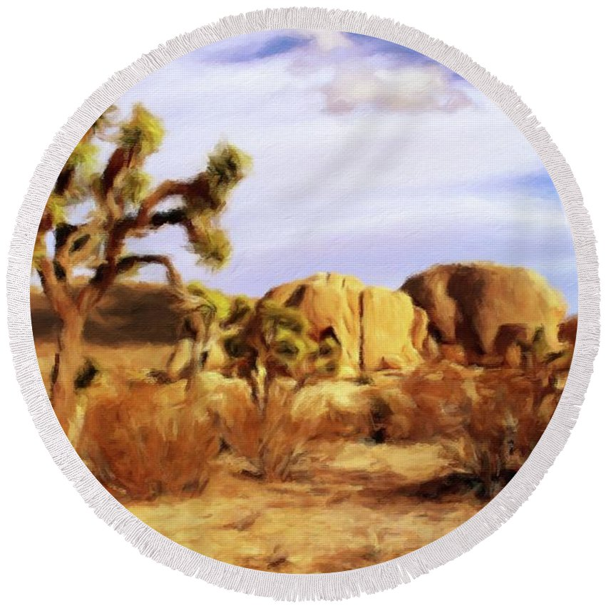 Landscape Round Beach Towel featuring the painting Desert Landscape by Sarah Kirk