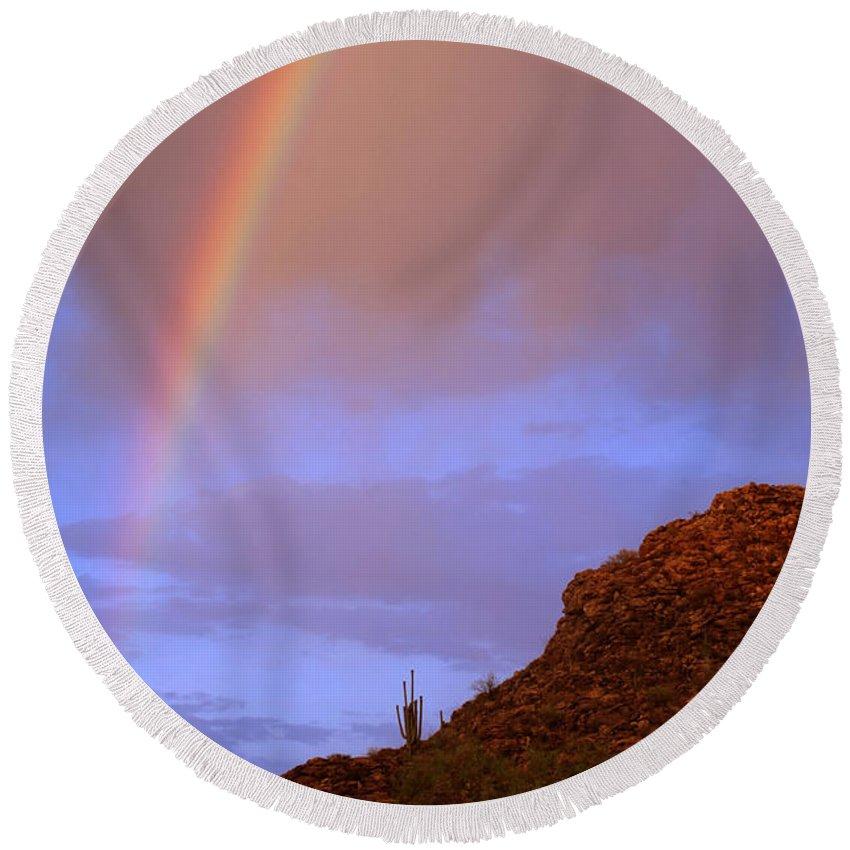 Rainbow Round Beach Towel featuring the photograph Desert Rainbow by Jill Reger