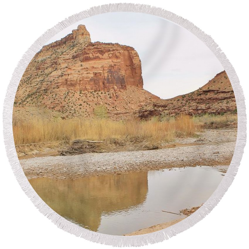 Nature Round Beach Towel featuring the photograph Desert Reflections 2 by Tonya Hance