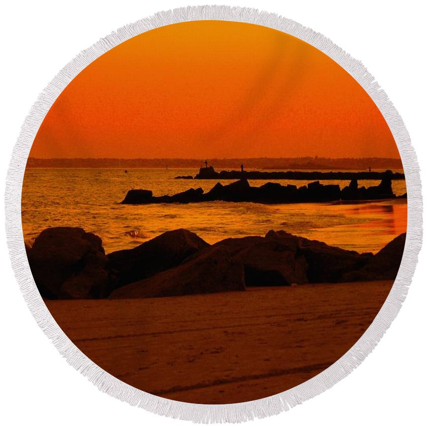 Landscape Round Beach Towel featuring the photograph Desert Skies by Kendall Eutemey