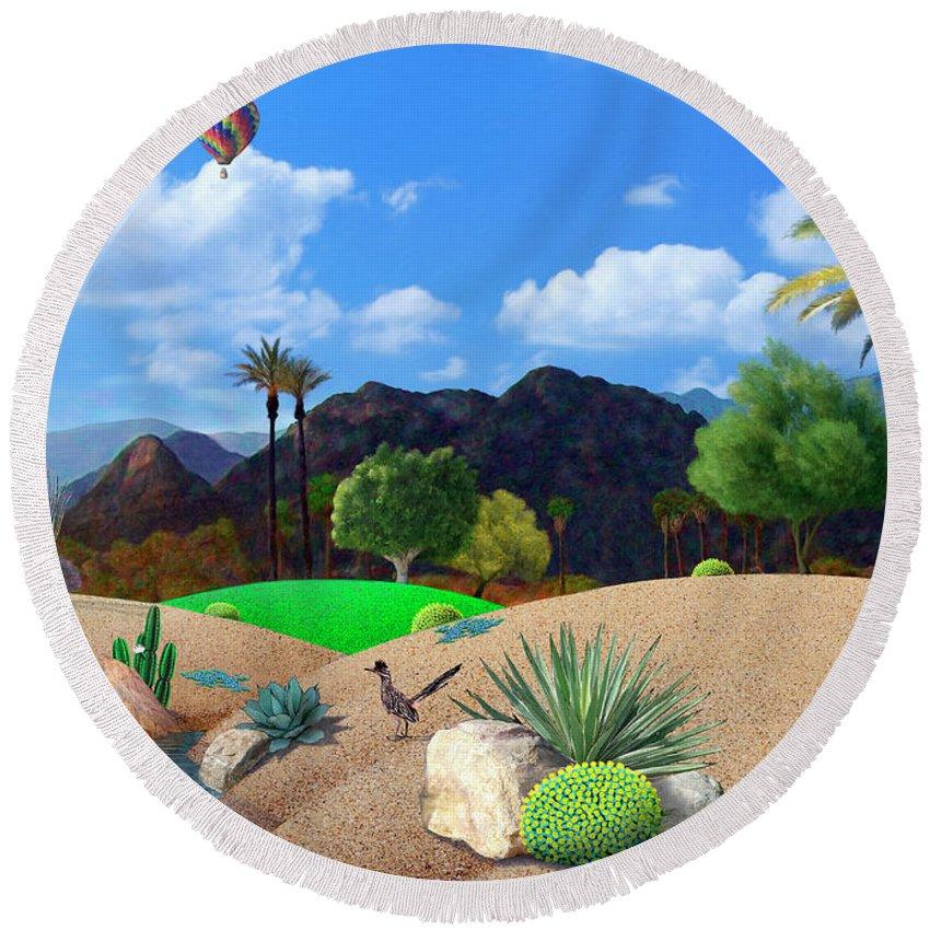 Desert Round Beach Towel featuring the digital art Desert Splendor by Snake Jagger