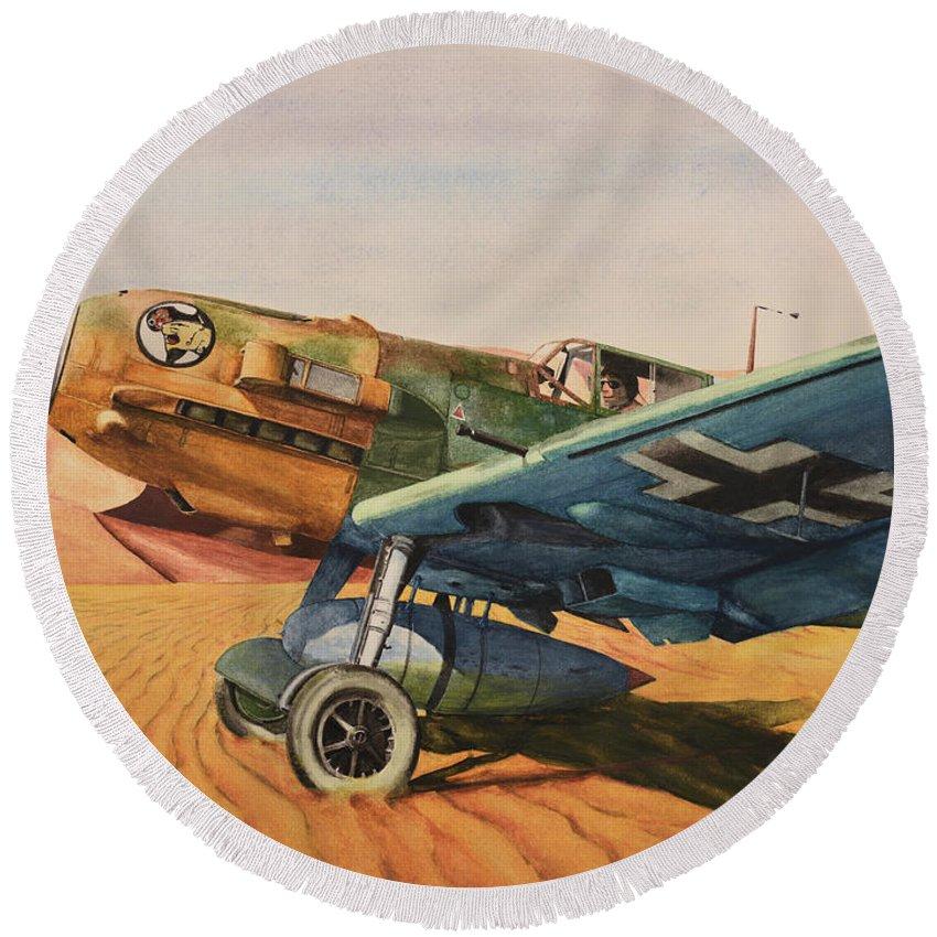 Luftwaffe Round Beach Towel featuring the painting Desert Storm by Oleg Konin