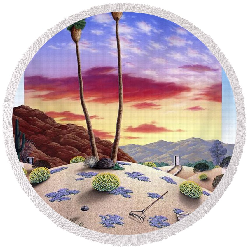 Desert Round Beach Towel featuring the painting Desert Sunrise by Snake Jagger