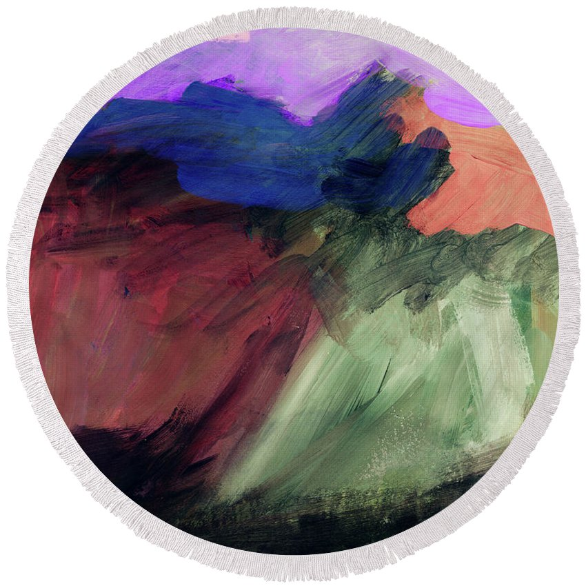 Abstract Painting Round Beach Towel featuring the painting Desert Sunset 1- Art By Linda Woods by Linda Woods