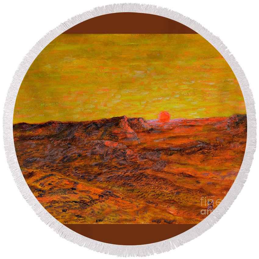 Desert Sunset Round Beach Towel featuring the painting Desert Sunset by Richard Wandell