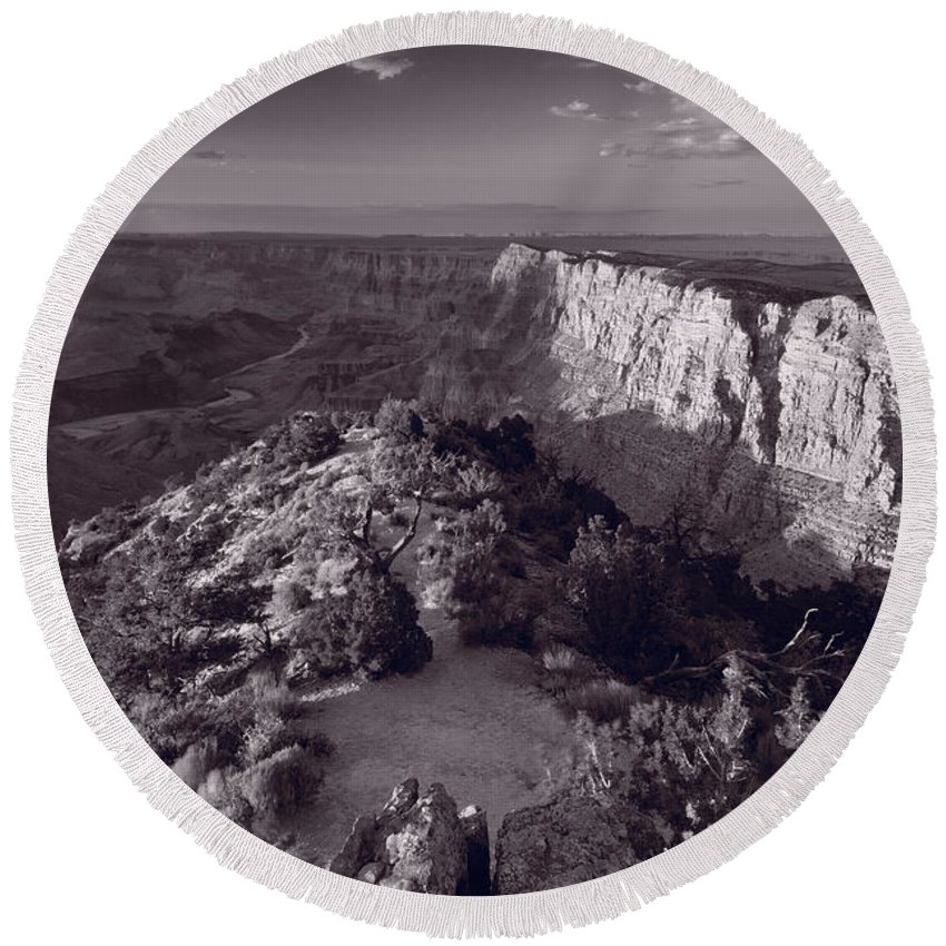 Arizona Round Beach Towel featuring the photograph Desert View At Grand Canyon Arizona Bw by Steve Gadomski