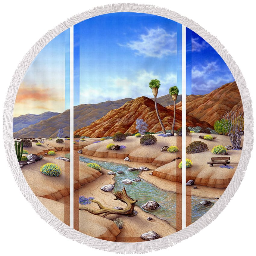 Landscape Round Beach Towel featuring the painting Desert Vista by Snake Jagger