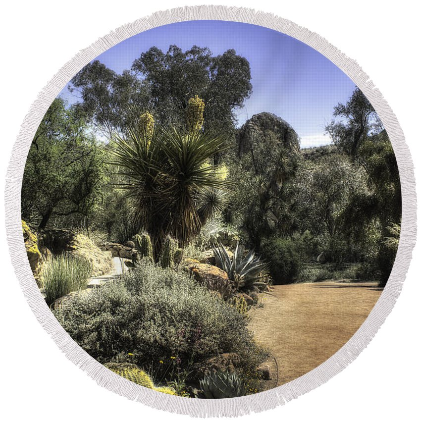 America Round Beach Towel featuring the photograph Desert Walkway by Lynn Geoffroy