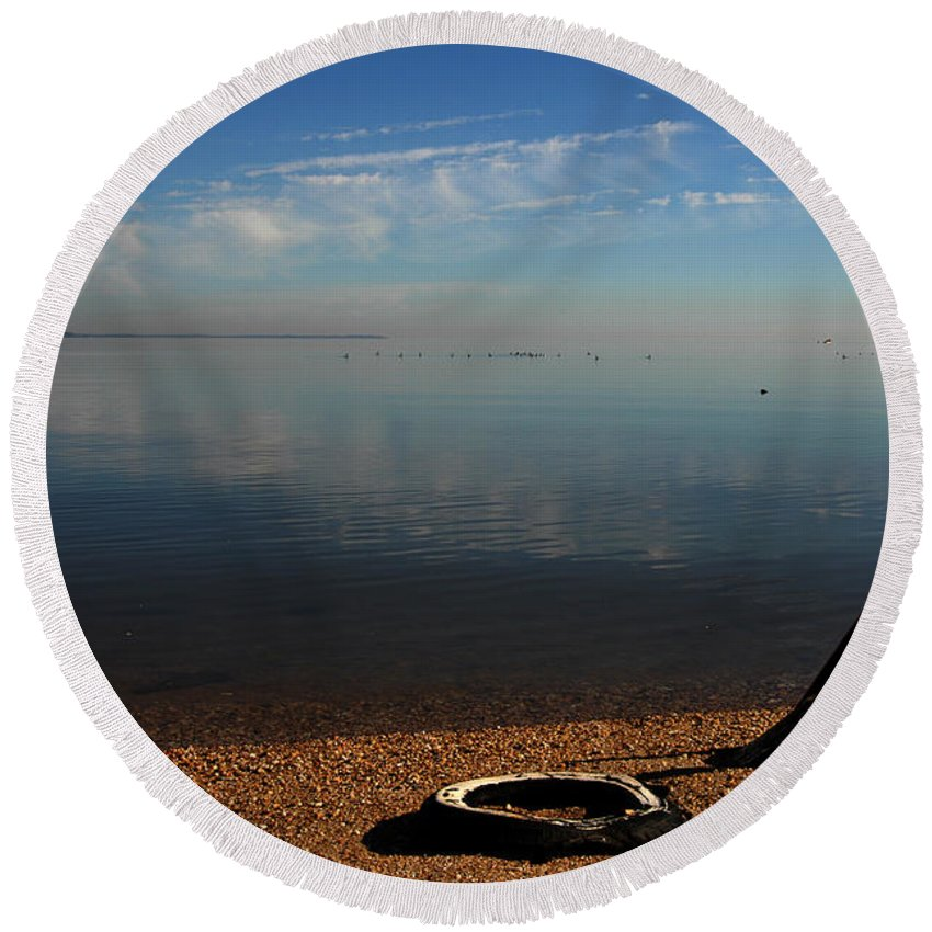 Clay Round Beach Towel featuring the photograph Deserted Beach by Clayton Bruster