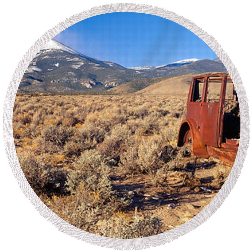 Photography Round Beach Towel featuring the photograph Deserted Car With Cow Skeleton, Great by Panoramic Images