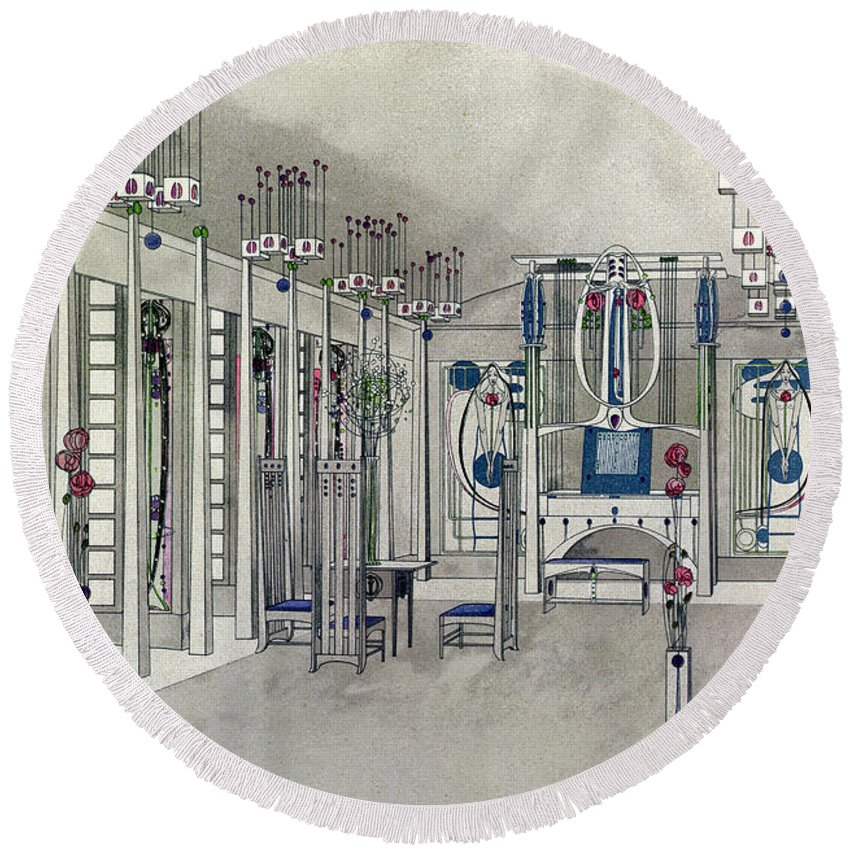 Art Nouveau Round Beach Towel featuring the painting Design For A Music Room With Panels By Margaret Macdonald Mackintosh by Charles Rennie Mackintosh