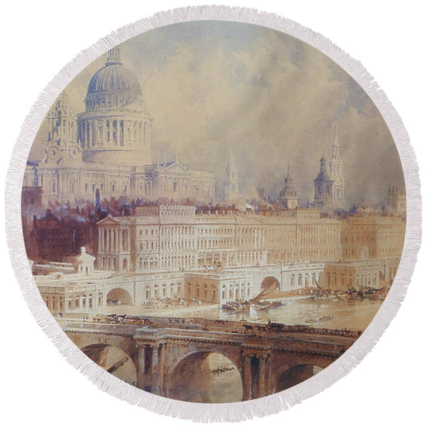 Bridge Round Beach Towel featuring the painting Design For The Thames Embankment, View Looking Downstream by Thomas Allom