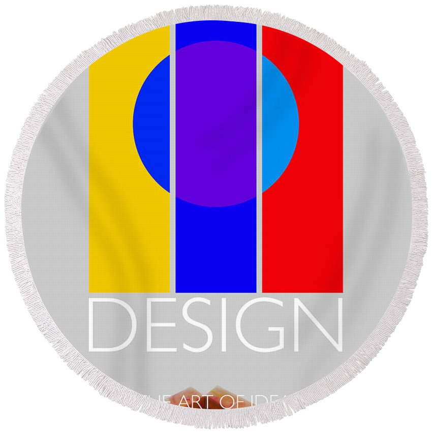 De Stijl Round Beach Towel featuring the painting Design Poster by Charles Stuart
