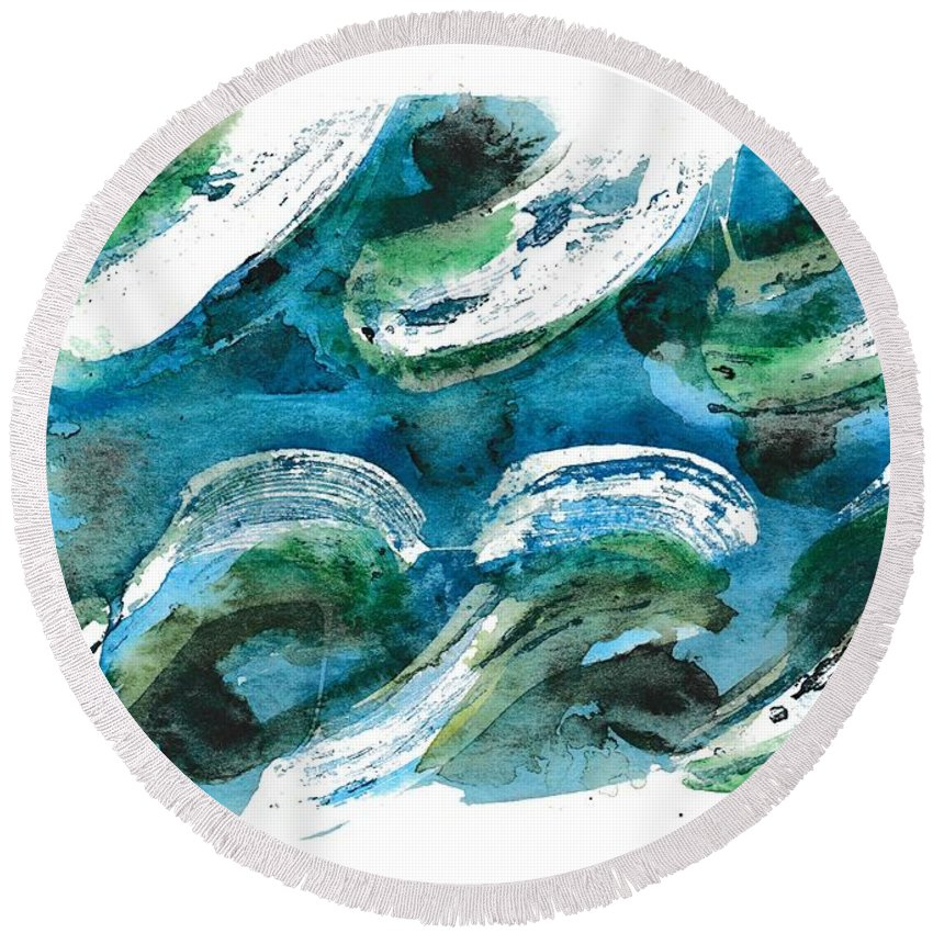 Seascape Round Beach Towel featuring the painting Design Waves by Paulette Boudreau