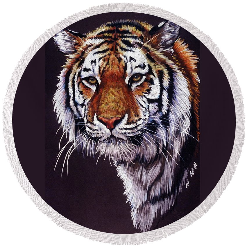 Tiger Round Beach Towel featuring the drawing Desperado by Barbara Keith