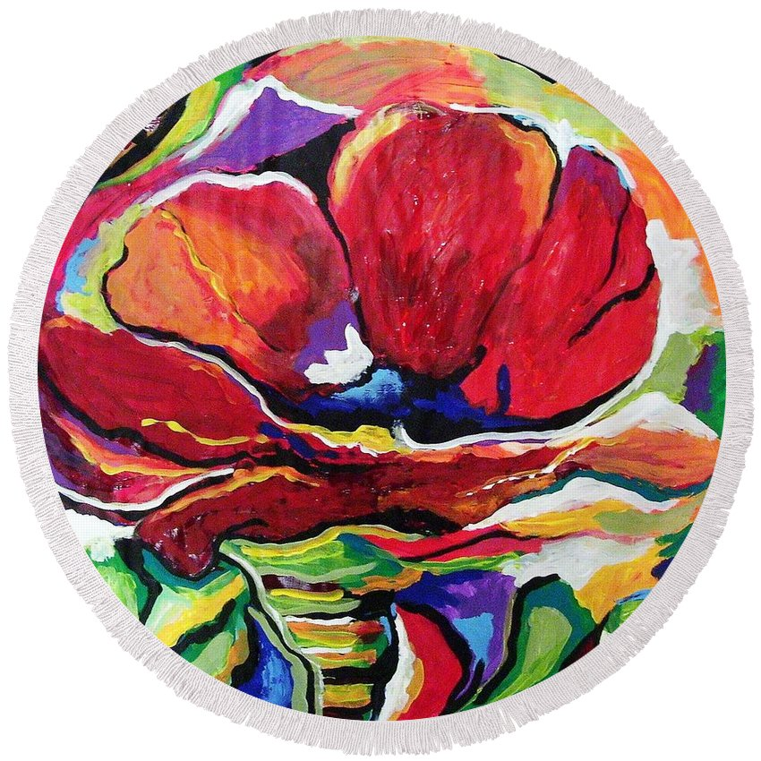 Floral Round Beach Towel featuring the painting Desperate For You by Gina Hulse
