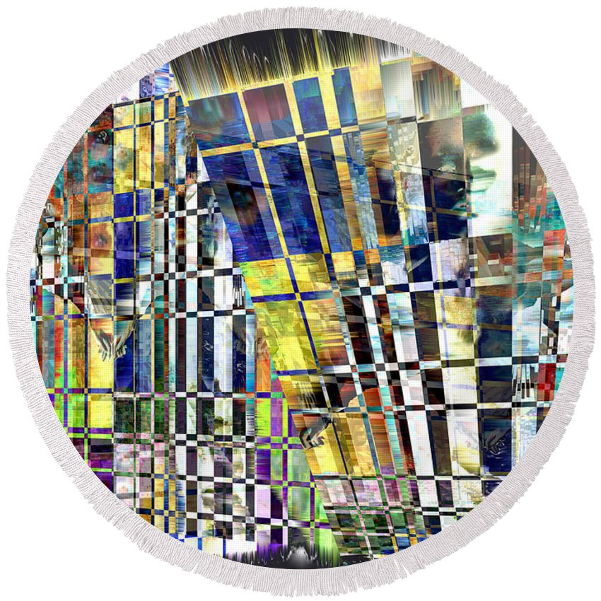 Abstract Round Beach Towel featuring the digital art Desperate Reflections by Seth Weaver