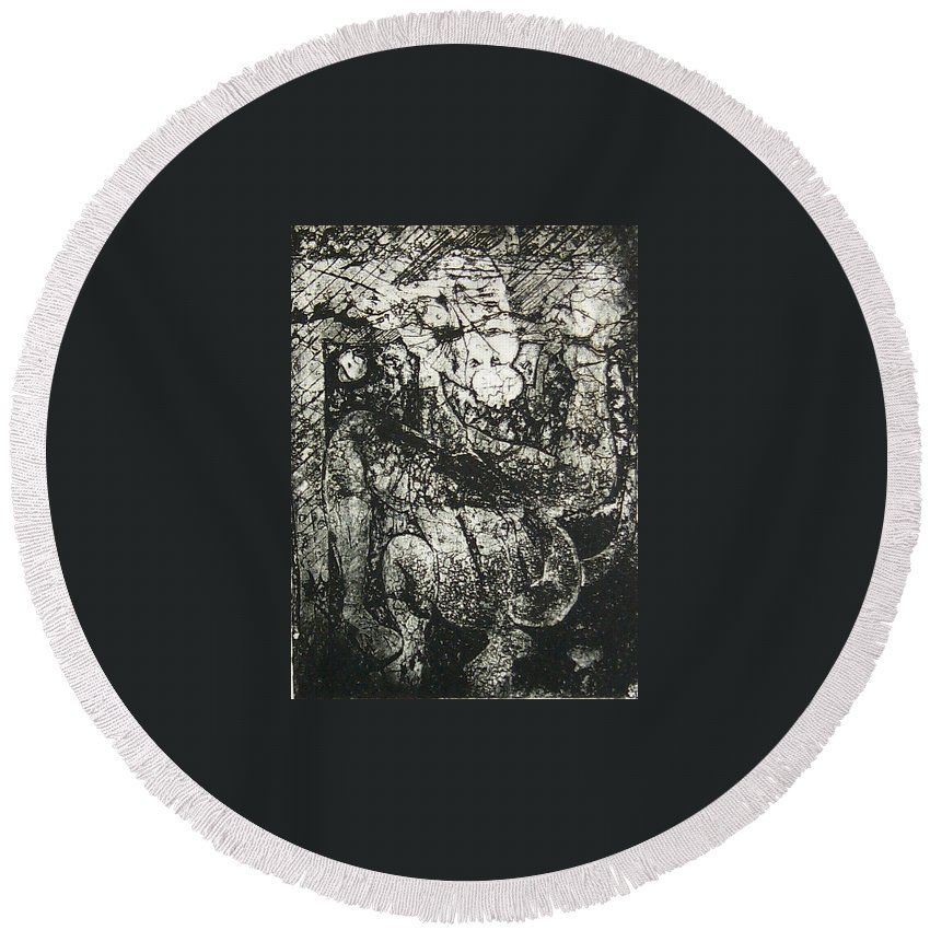 Etching Round Beach Towel featuring the print Destroy Plate by Thomas Valentine