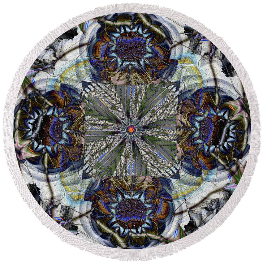 Abstract Round Beach Towel featuring the digital art Detached by Jim Pavelle