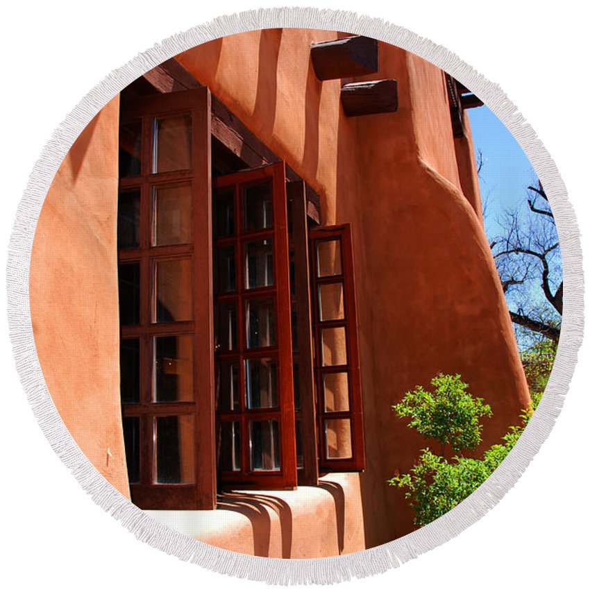Santa Fe Round Beach Towel featuring the photograph Detail Of A Pueblo Style Architecture In Santa Fe by Susanne Van Hulst