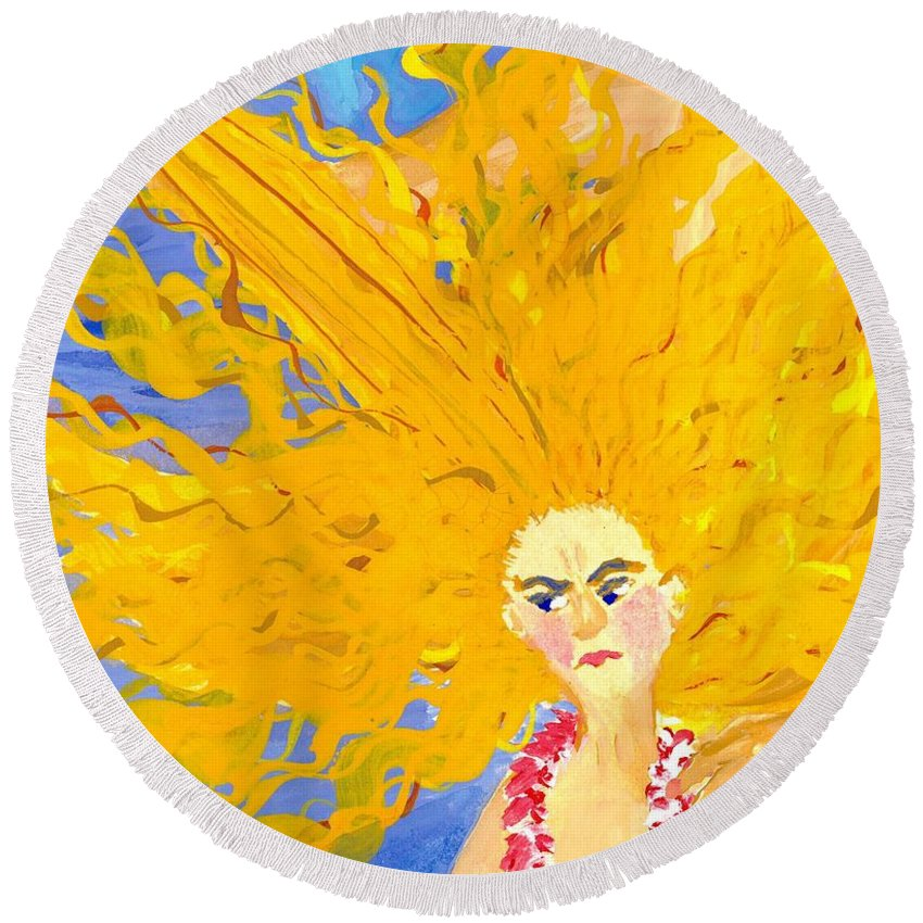 Sue Burgess Round Beach Towel featuring the painting Detail Of Mer Mum And Comb The Daughter by Sushila Burgess