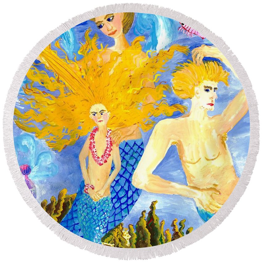 Sue Burgess Round Beach Towel featuring the painting Detail Of Mer Mum And Comb The Family by Sushila Burgess