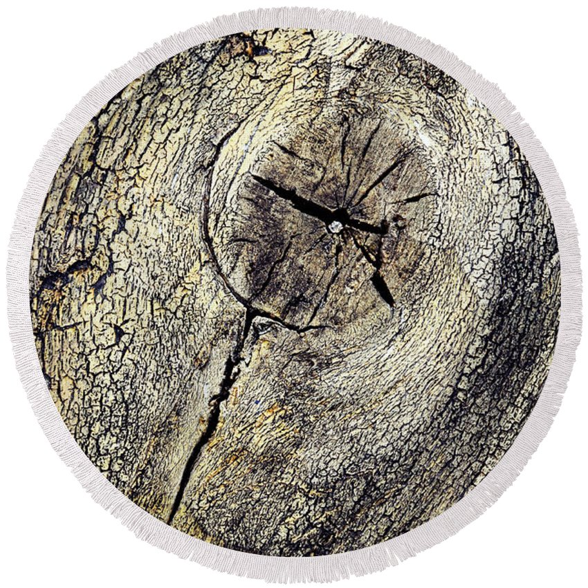 Detail Round Beach Towel featuring the photograph Detail Stumps On Old Wood by Jozef Jankola