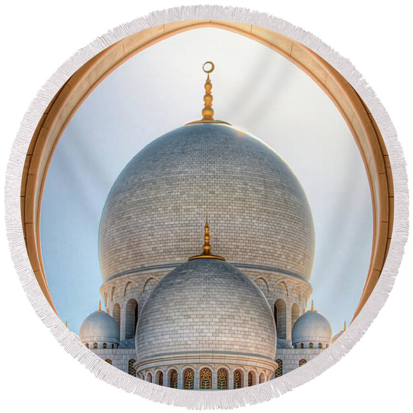 Islam Round Beach Towel featuring the photograph Detail View At Dome Of Sheikh Zayed Grand Mosque, Abu Dhabi, United Arab Emirates by Marek Kijevsky