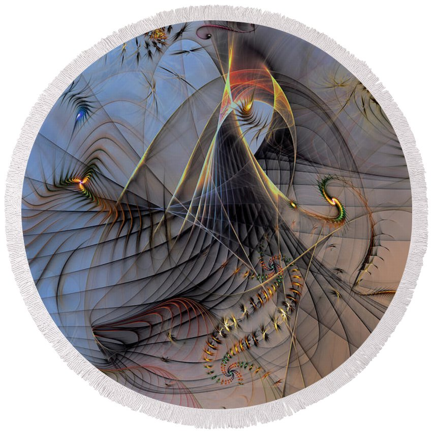 Abstract Round Beach Towel featuring the digital art Deterministic Chaos by Casey Kotas