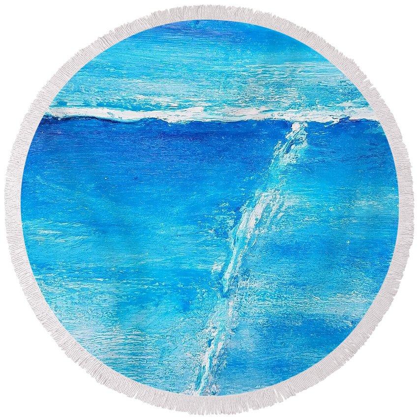 Detour Round Beach Towel featuring the painting Detour by Marti DeCoste