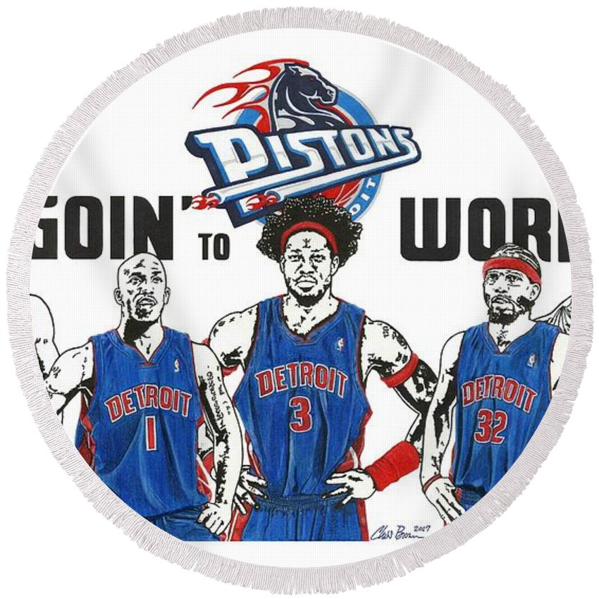 Detroit Goin To Work Pistons Round Beach Towel For Sale By Chris Brown