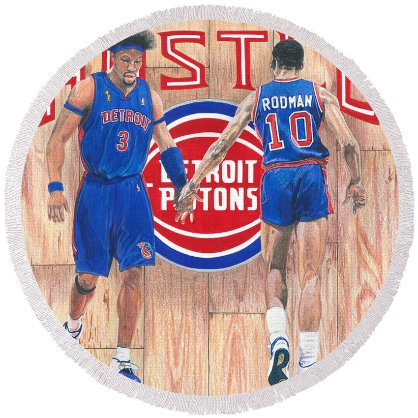 Detroit Hustle Ben Wallace And Dennis Rodman Round Beach Towel For Sale By Chris Brown