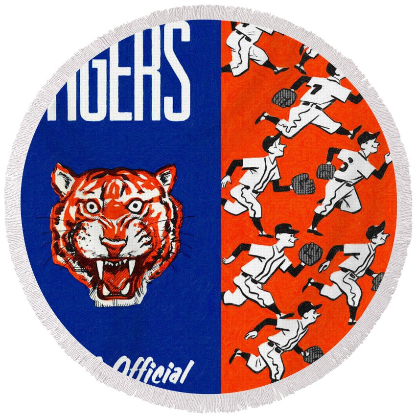 Yearbook Round Beach Towel featuring the painting Detroit Tigers 1962 Yearbook by John Farr