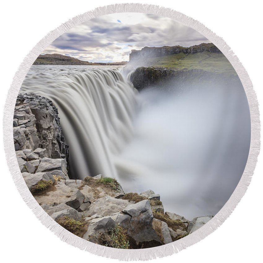 Dettifoss Round Beach Towel featuring the photograph Dettifoss by Alexey Stiop